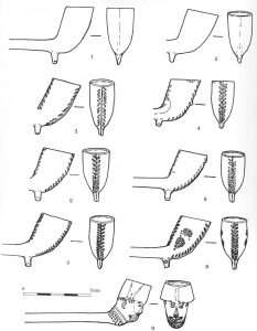 Clay pipes from Wellington Road (Victoria Road) Scale 1:1
