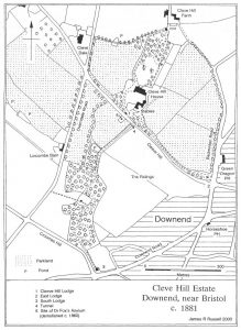 "Fig.7 Map of Cleve Hill Estate c1881 (based on OS 6"" and 25"" maps)."